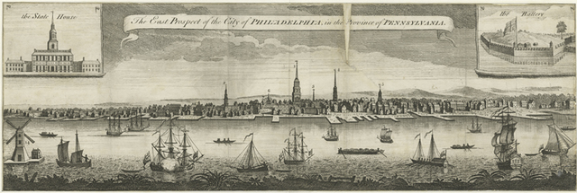 The east prospect of the city of Philadelphia in the Province of Pennsylvania