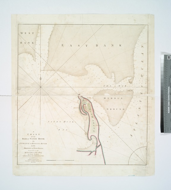 A chart of the bar of Sandy Hook : the entrance of Hudsons River in the province of New Jersey