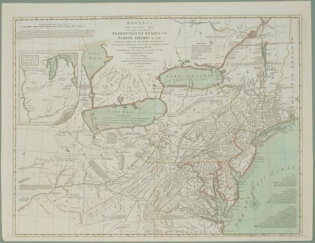 Bowles's new pocket map of the following independent states of North America : viz. Virginia, Maryland, Delaware, Pensylvania, New Jersey, New York, Connecticut & Rhode Island : comprehending also the habitations & hunting countries of the confederate Indians