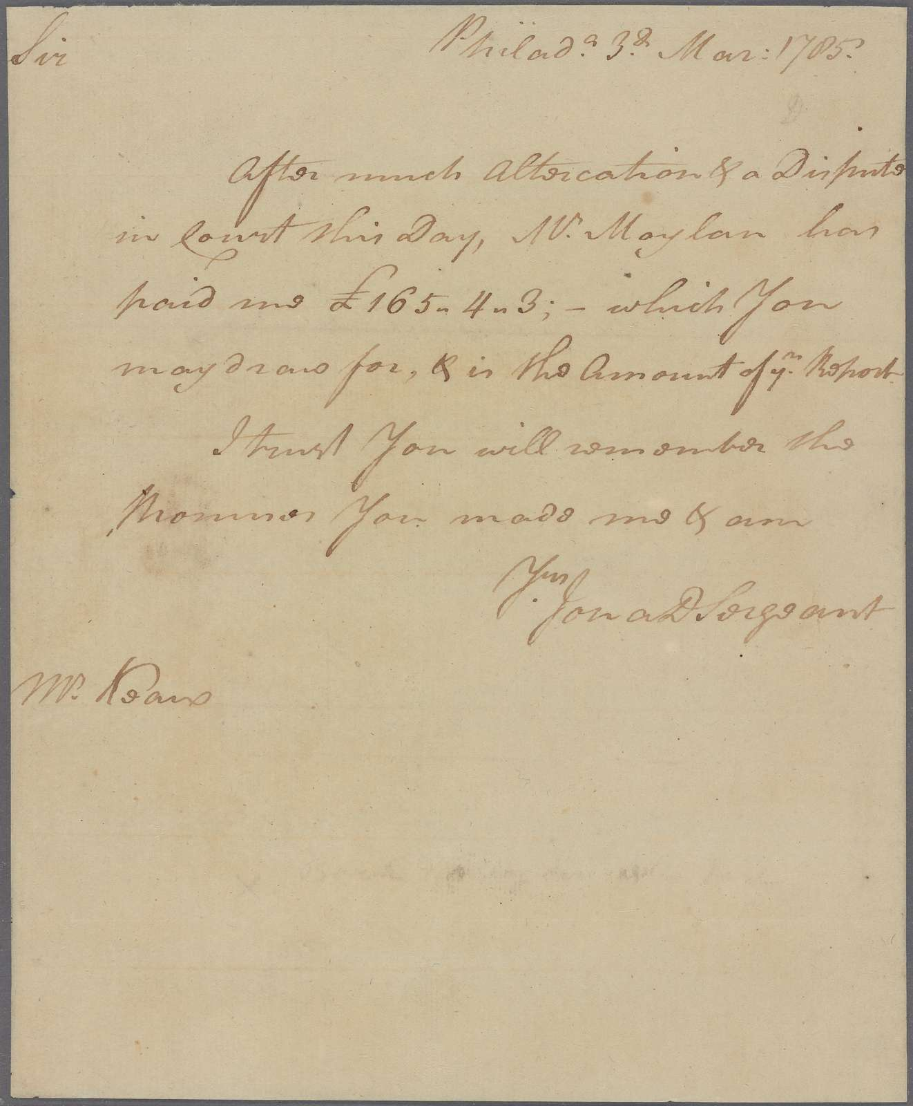Letter to John Kean, Head of Wye River, Eastern Shore, Maryland
