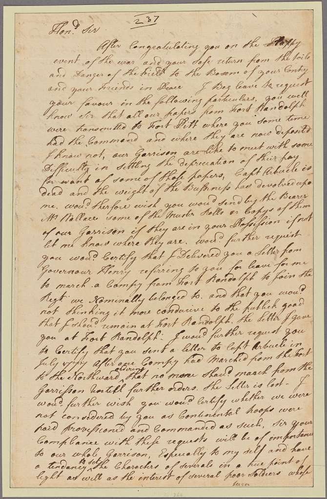 Letter to Gen. Edward Hand