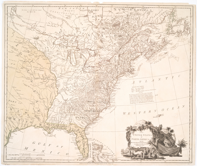 The United States of North America, with the British & Spanish territories according to the Treaty of 1784