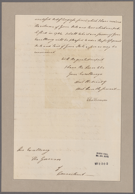 Thomson, Charles. Office of Secretary of Congress. To Governor of Connecticut