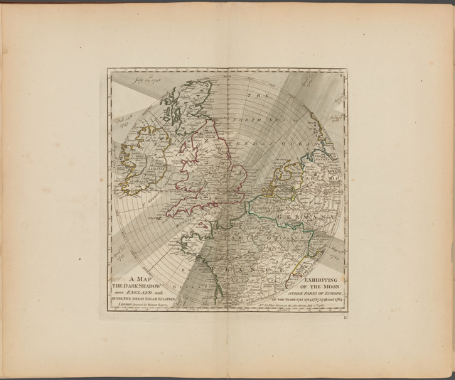 A map exhibiting the dark shadow of the moon over England and other parts of Europe, in the five great solar eclipses, of the years 1715, 1724, 1737, 1748 and 1764