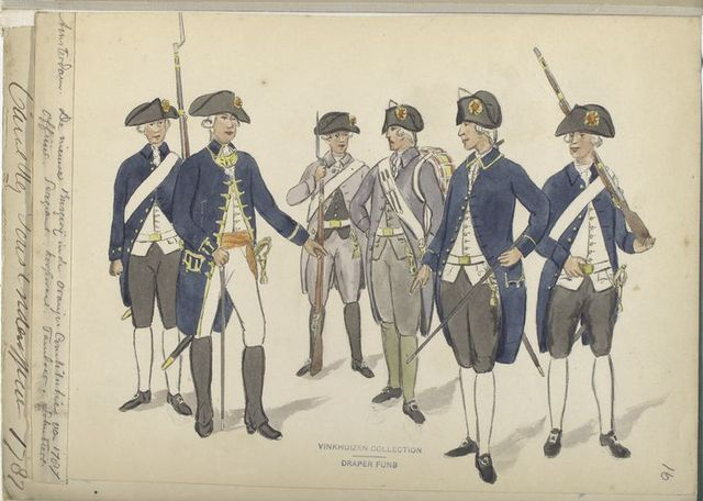 Amsterdam. De nieuwe Burgerij in de Oranje. Constitutie va 1787: Officier, Sergeant, Korporaal, Tamboer, Schutters. 1787.