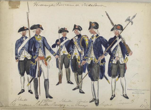 De nieuwe Schutter Burgerij van de Oranje: Schutter, Officier, Schutter, Tamboer, Sergeant, Corporaal. 1787