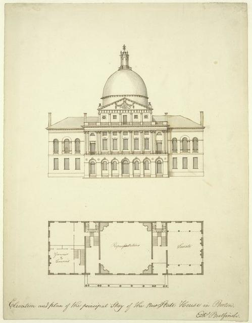 Elevation and plan of the principal story of the new state house in Boston