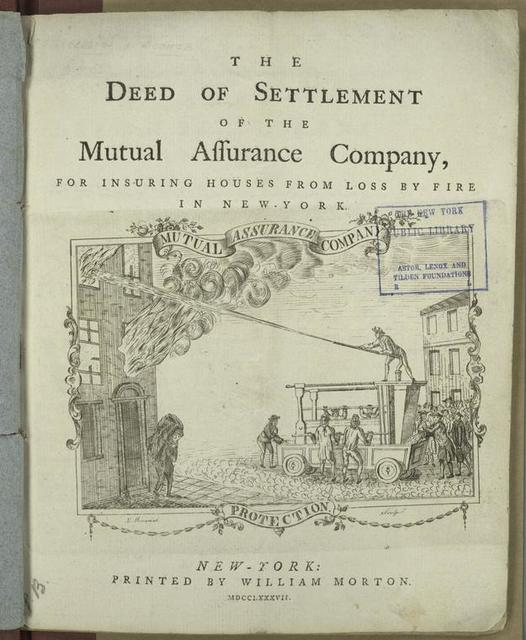 The deed of settlement of the Mutual Assurance Company, for insuring houses from loss by fire in New York.