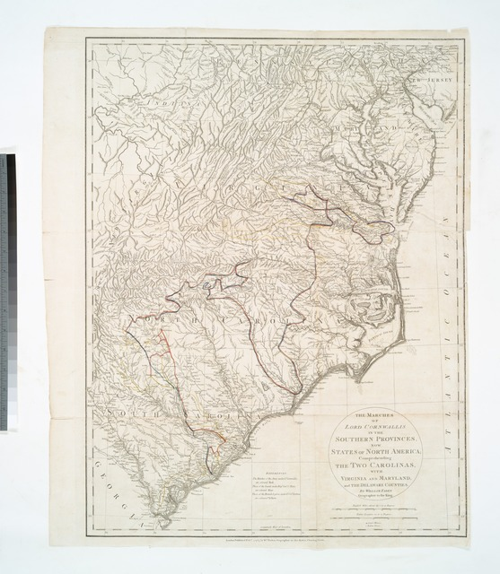 The marches of Lord Cornwallis in the Southern Provinces : now States of North America, comprehending the two Carolinas, with Virginia and Maryland, and the Delaware counties