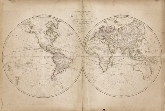 Map of the world drawn and engraved from D'Anville's two sheet map with improvements for Harrison, Newgate Street as the act directs, Dec. 1, 1788.