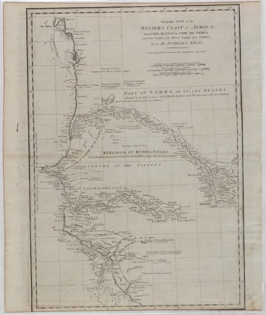 Particular map of the western coast of Africa: from Cape Blanco to Cape de Verga, and of the course of the Rivers Senega and Gambia, from d'Anville's atlas