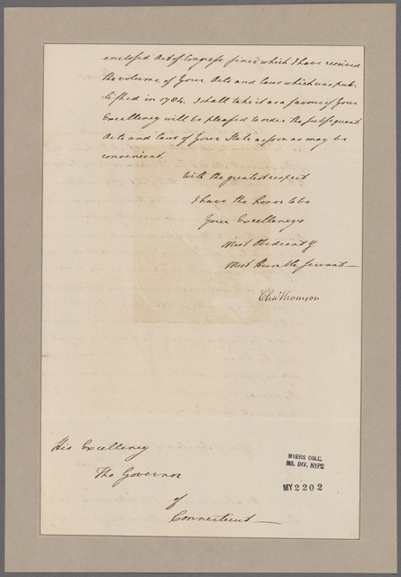 Thomson, Charles. Office of the Secretary of Congress. To Gov. of Conn
