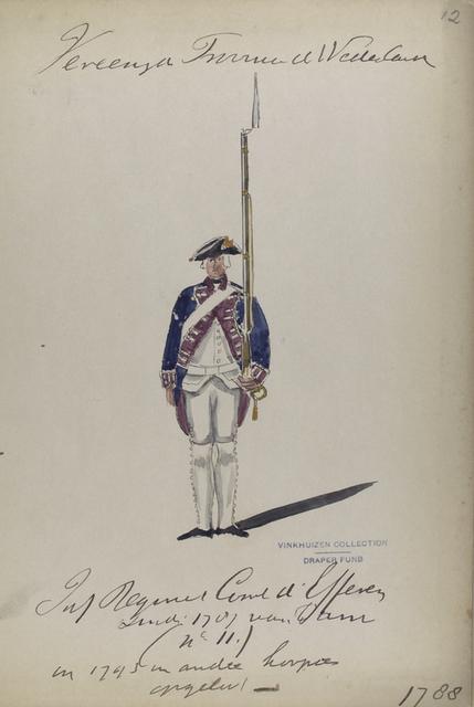 Vereenigde Provincien der Nederlanden. Inf Regiment [...] d'Efferen [...] 1701 van Dam (n II) en 1793 [...].