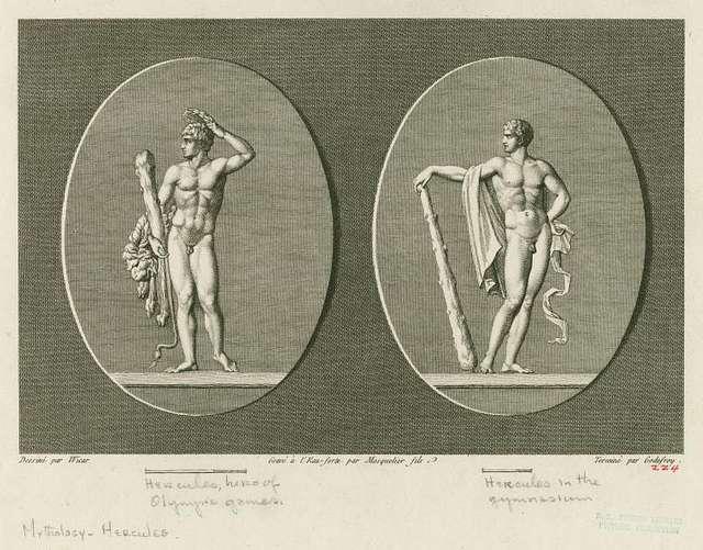 Hercules, hero of Olympic games; Hercules in the gymnasium