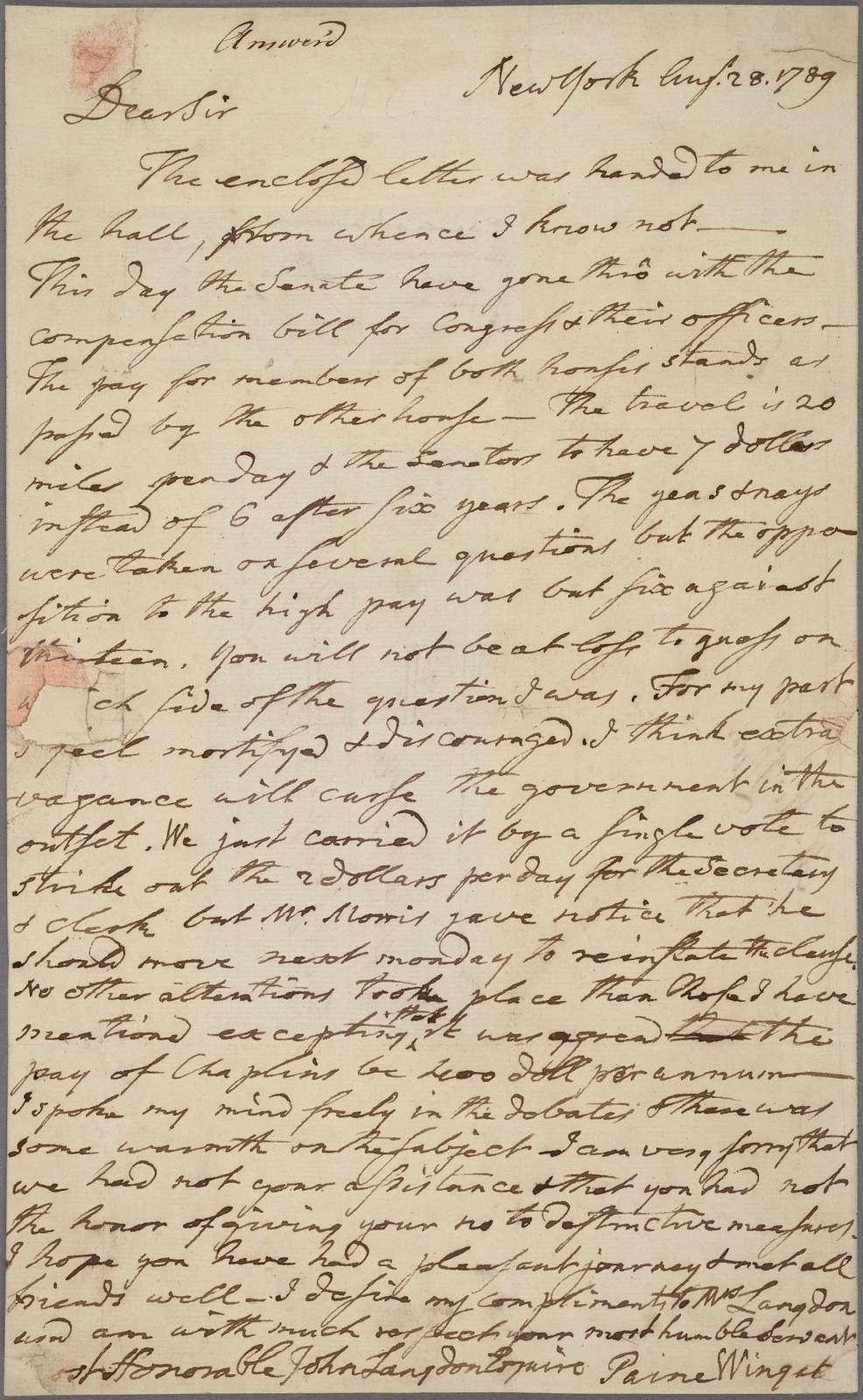 Letter to John Langdon, Portsmouth [N. H.]