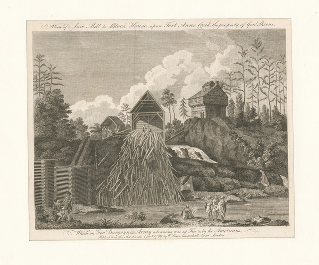 A view of a saw mill and block house upon Fort Anne Creek, the property of Genl. Skeene, which on Genl. Burgoyne's army advancing, was set fire to, by the Americans.