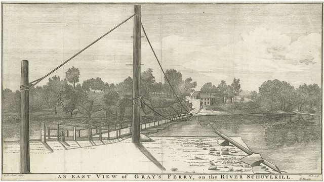 An east view of Gray's Ferry, on the River Schuylkill.