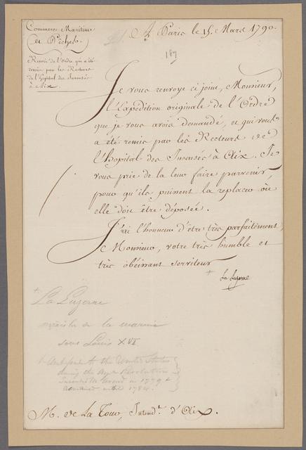 Luzerne, Chevalier de la. Paris. To de la Tour