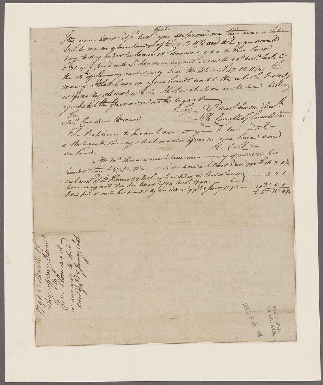 Carroll, Charles of Carrollton. Annapolis. To C. Howard