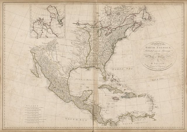 Map of North America, published under the Patronage of Duke of New Orleans by D'Anville for J. Harrison, London, January 1791.