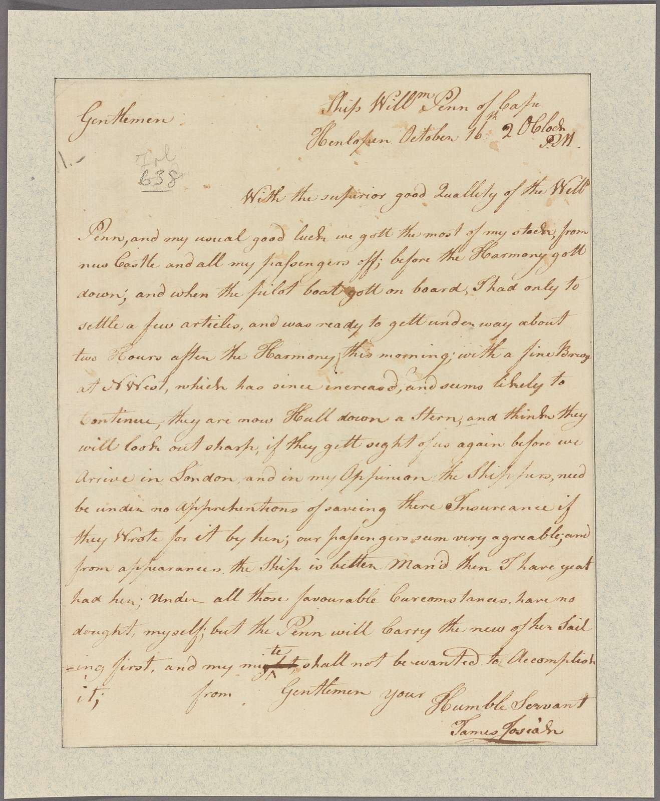 Letter to Messrs. Jesse and Robt Waln, Philadelphia
