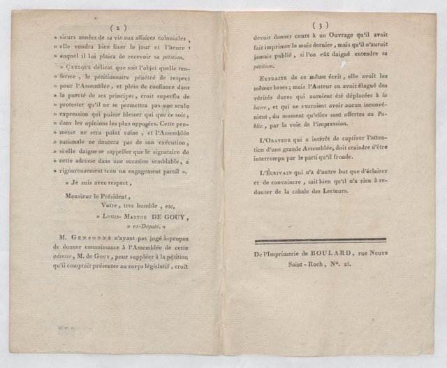 Louis-Marthe de Gouy to the President of the French National Assembly, Paris
