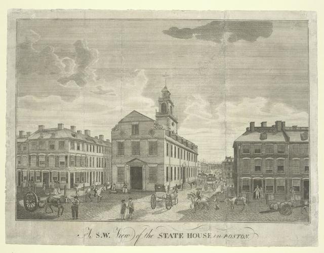 A S.W. view of the State House, in Boston.
