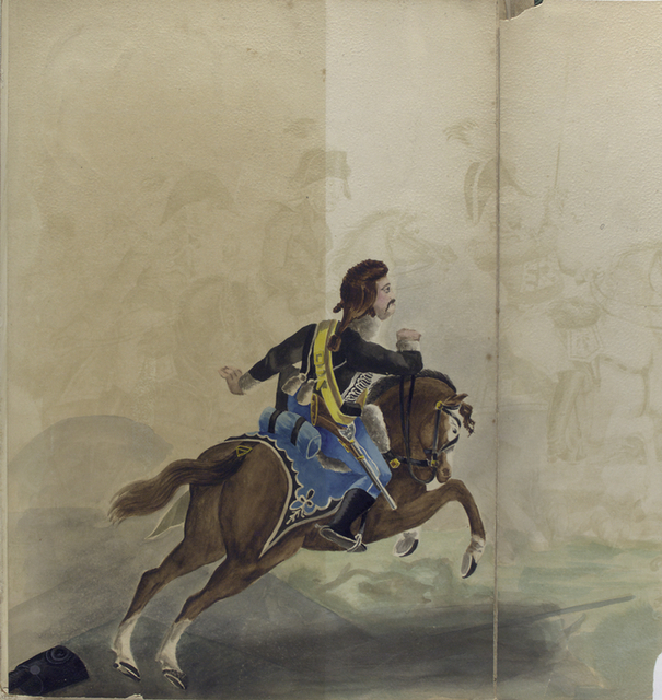[Soldiers and Officiers on horsebacks.]