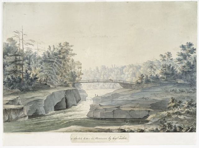 [The Pont Dery, near the Pont Rouge, about twenty-five miles north-west of Quebec, on the Jacques Cartier River.]