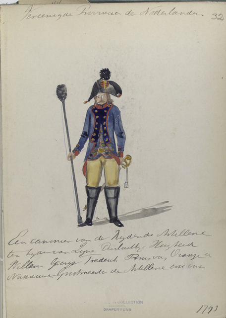 Vereenigde Provincien der Nederlander. Een canonnier van der Reg. Artillerie ten [...] van Lijne [...] Willem George Frederick Pruis van Oranje en Nana... G... de Artiellerie [...].