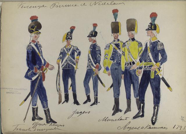 Vereenigde Provincien der Nederlander. Frans Emigrante: Officier Rang.... Jagers. M...lant. Sergeant en Kannonier.