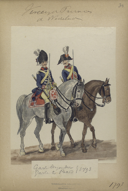Vereenigde Provincien der Nederlander. Garde Dragonder. Garde te Paard.