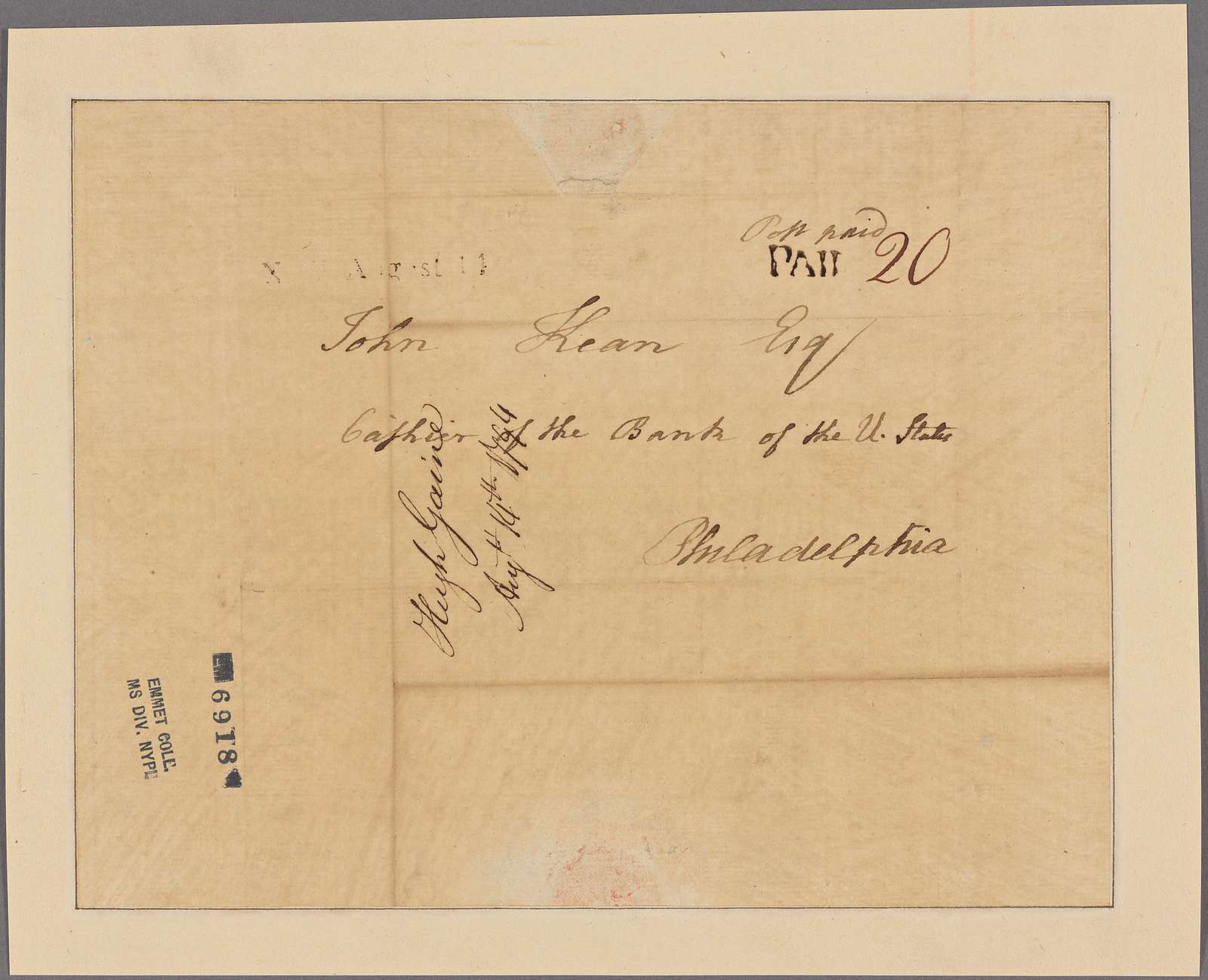 Letter to John Kean, Cashier of the Bank of the United States, Philadelphia
