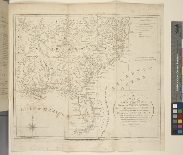 A map of the states of Virginia, North Carolina, South Carolina and Georgia; comprehending the Spanish provinces of East and West Florida; exhibiting the boundaries as fixed by the late Treaty of Peace between the United States and the Spanish dominions. Compiled from the late Surveys & Observations by Joseph Purcell.