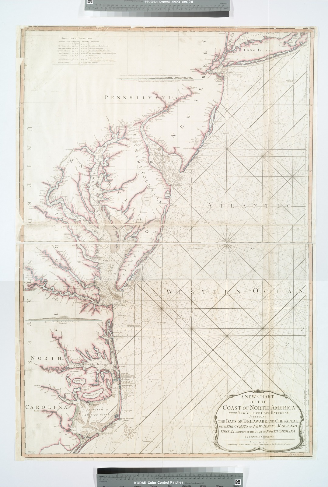 A new chart of the coast of North America : from New York to Cape Hatteras, including the bays of Delaware and Chesapeak, with the coasts of New Jersey, Maryland, Virginia and part of the coast of North Carolina