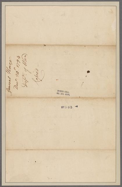 Knox, [Henry]. Department of War. To General Morgan