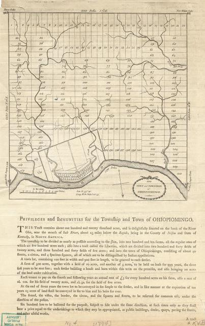 Plan of The town and township, of Ohiopiomingo, with Privileges and immunities for the township and town of Ohiopiomingo. [1794?]