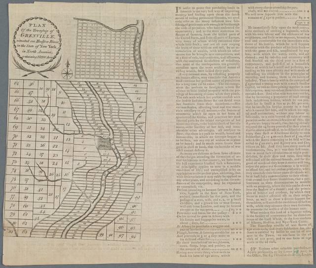 Plan of the Township of Grenville, situated on Hudson River, in the State of New York, in North America, containing 25200 Acres