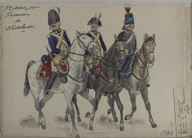 Vereenigde Provincie de Nederland, Garde Dragonder, Garde de Paard, Huzaar van Van Heeckeren 1794