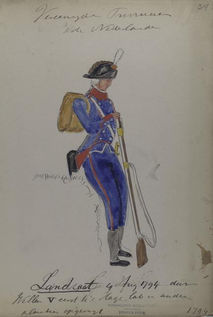 Vereenigde Provincie de Nederland, Landsaat 4 Aug 1794 dur Willem V [...] in andere plaatse opgericht