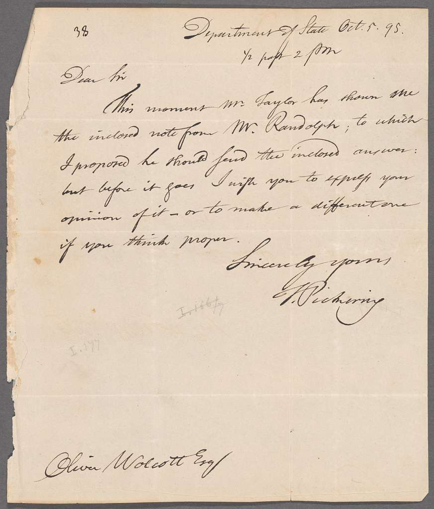 Timothy Pickering to Oliver Wolcott, Department of State