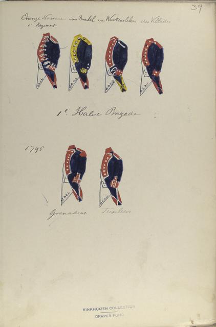 Oranje Nassau 1 Regiment, von Brakel,  van Wartensleben, des Villattes; 1-o Halve Brigade: Grenadier, Fusilier. 1795