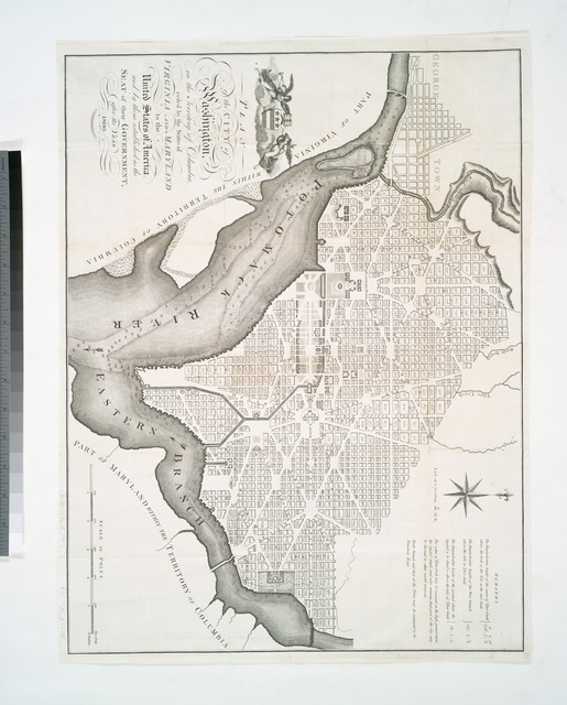 Plan of the city of Washington, in the territory of Columbia : ceded by the States of Virginia and Maryland to the United States of America, and by them established as the seat of their governmentafter the year 1800