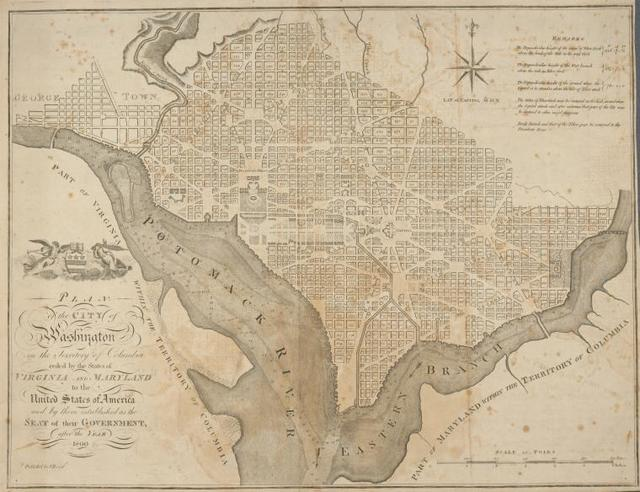 Plan of the city of Washington in the territory of Columbia : ceded by the states of Virginia and Maryland to the United States of America and by them established as the seat of their government, after the year 1800
