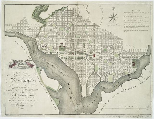 Plan of the city of Washington, in the territory of Columbia : ceded by the States of Virginia and Maryland to the United States of America, and by them established as the seat of their government after the year 1800