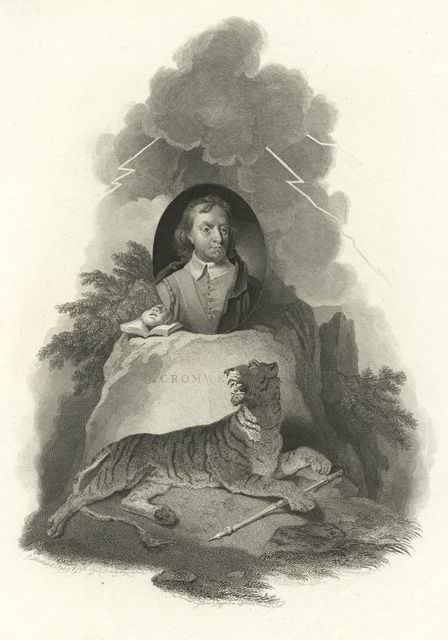 Allegorical composition, with portrait of Oliver Cromwell.