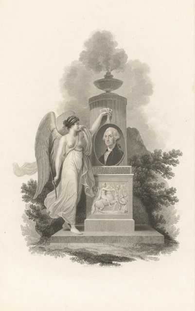 Allegorical figure with a bust of Washington.
