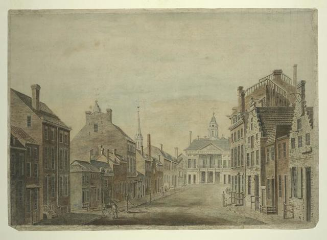 [A view of Broad Street, Wall Street, and the City Hall.]