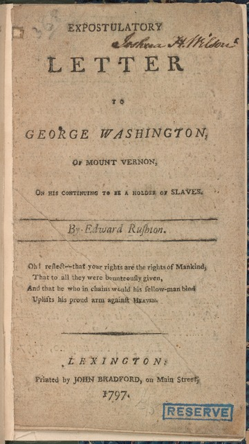 Expostulatory letter to George Washington, ... [Frontispiece]