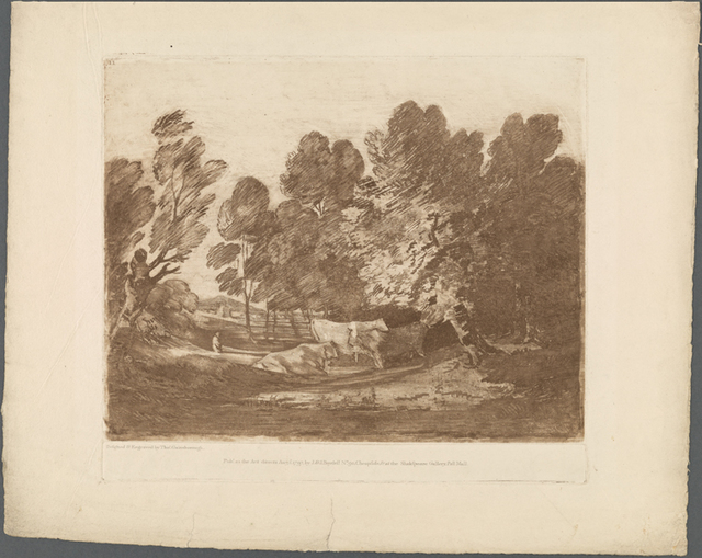 Wooded landscape with herdsman and cows